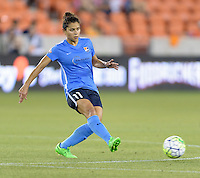 Houston, TX - Friday April 29, 2016: Raquel Rodriguez (11) of Sky Blue FC passes the ball against the Houston Dash at BBVA Compass Stadium. The Houston Dash tied Sky Blue FC 0-0.