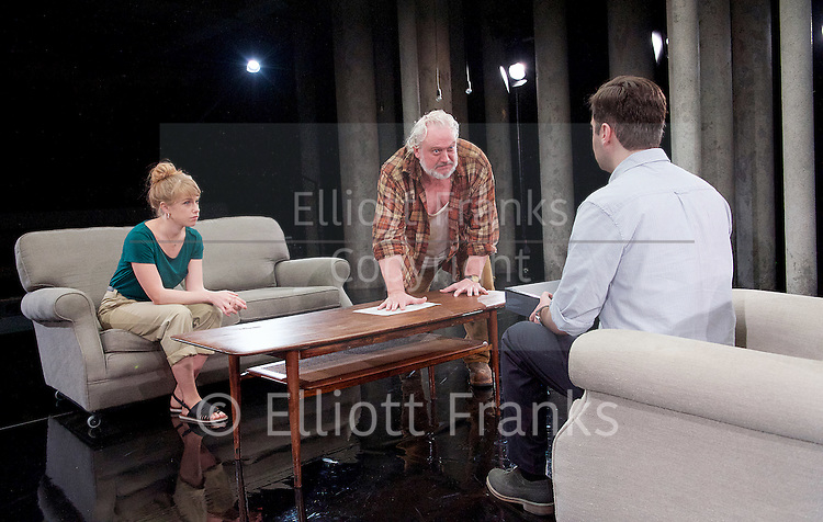Forget Me Not <br /> by Tom Holloway <br /> directed by Steven Atkinson<br /> at The Bush Theatre, London, Great Britain <br /> press photocall <br /> 10th December 2015 <br /> <br /> Russell Floyd (as Gerry)<br /> <br /> <br /> Sarah Ridgeway (as Sally)<br /> Sargon Yelda (as Mark)<br /> <br />  <br /> Photograph by Elliott Franks <br /> Image licensed to Elliott Franks Photography Services