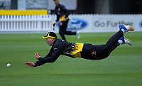 Michael Bracewell fields. Ford trophy one day cricket match between Wellington Firebirds and Canterbury at the Basin Reserve in Wellington, New Zealand on Wednesday, 24 October 2018. Photo: Dave Lintott / lintottphoto.co.nz