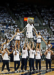March 1, 2012: A Nevada cheerleader perform during a timeout at the Nevada Wolf Pack vs New Mexico State Aggies NCAA basketball game played at Lawlor Events Center on Thursday night in Reno, Nevada.