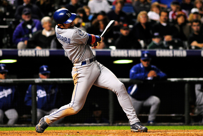 12 September 2008: Los Angeles Dodgers 1st baseman Nomar Garciaparra at bat against the Colorado Rockies. The Dodgers defeated the Rockies 7-2 at Coors Field in Denver, Colorado. FOR EDITORIAL USE ONLY
