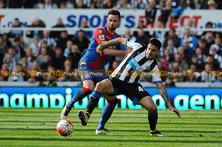 Damien Delaney of Crystal Palace battles with Aleksandar Mitrovic of Newcastle United during Newcastle United vs Crystal Palace, Barclays Premier League Football at St. James' Park on 30th April 2016