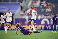 Orlando, FL - Sunday July 10, 2016: Dani Weatherholt, Louise Schillgard during a regular season National Women's Soccer League (NWSL) match between the Orlando Pride and the Boston Breakers at Camping World Stadium.