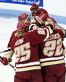 Ashley Motherwell (BC - 18), Jackie Young (BC - 25), Mary Restuccia (BC - 22) - The Boston College Eagles defeated the Harvard University Crimson 4-2 in the 2012 Beanpot consolation game on Tuesday, February 7, 2012, at Walter Brown Arena in Boston, Massachusetts.