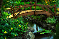 Bridge in garden at Four Seasons Hotel. Ko Olina, Oahu, Hawaii