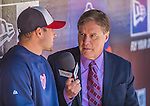 21 April 2013: Washington Nationals and MASN Broadcaster Bob Carpenter interviews relief pitcher Craig Stammen prior to a game against the New York Mets at Citi Field in Flushing, NY. Carpenter is in his 8th season with MASN and the Nationals and his 30th in Major League Baseball. The Mets shut out the visiting Nationals 2-0, taking the rubber match of their 3-game weekend series. Mandatory Credit: Ed Wolfstein Photo *** RAW (NEF) Image File Available ***