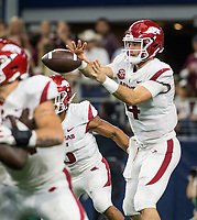 Hawgs Illustrated/Ben Goff<br /> Ty Storey, Arkansas quarterback, in the 3rd quarter vs Texas A&M Saturday, Sept. 29, 2018, during the Southwest Classic at AT&T Stadium in Arlington, Texas.