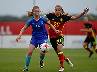 20170914 - TUBIZE ,  BELGIUM : Belgian Julie Biesmans (r) pictured in a duel with Sisca Folkertsma (left) during the friendly female soccer game between the Belgian Red Flames and European Champion The Netherlands , a friendly game in the preparation for the World Championship qualification round for France 2019, Thurssday 14 th September 2017 at Euro 2000 Center in Tubize , Belgium. PHOTO SPORTPIX.BE | DAVID CATRY