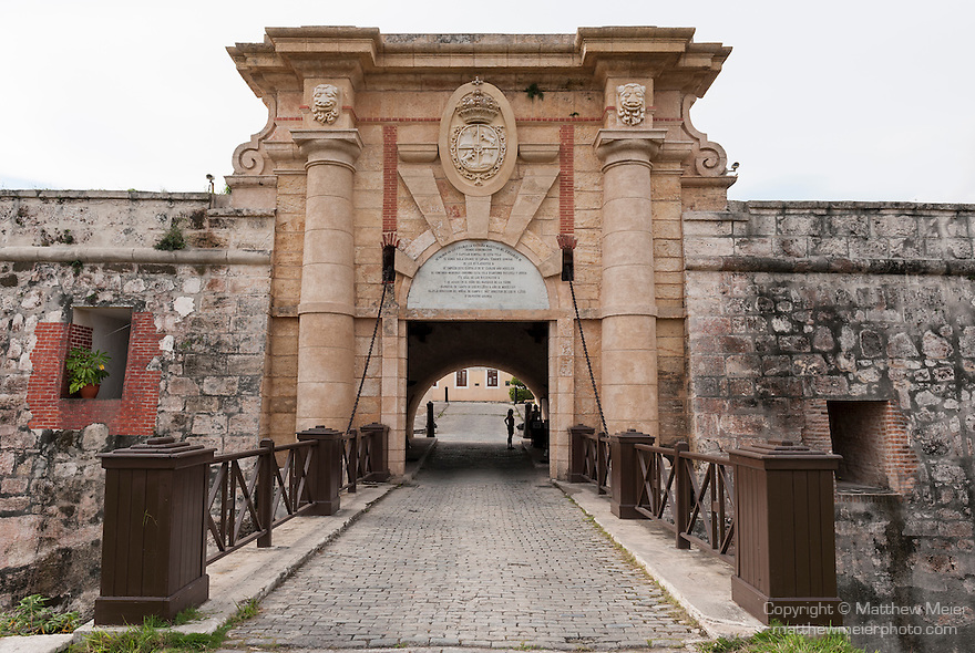 Havana, Cuba; the entrance to the Fortaleza de San Carlos de la Cabana, which was finished in 1774 and protected the opening to Havana harbor