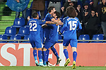 Getafe CF's Damian Suarez, Jaime Mata, Leandro Cabrera and Marc Cucurella celebrate goal during UEFA Europa League match. December 12,2019. (ALTERPHOTOS/Acero)
