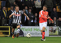 Olly Lee of Luton Town plays a ball into the box during the Sky Bet League 2 match between Notts County and Luton Town at Meadow Lane, Nottingham, England on 29 October 2016. Photo by Liam Smith / PRiME Media