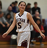 Danielle Kleet #5 of Whitman reacts as the clock ticks down on her team's 51-46 overtime win over Hauppauge in a non-league tournament game played at Whitman High School on Friday, Nov. 30, 2018.