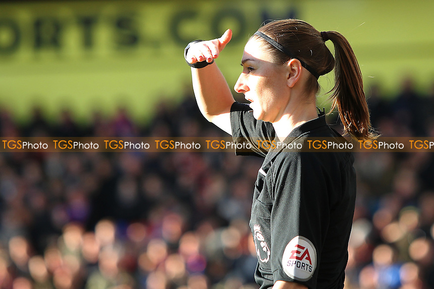 Very bright conditions for assistant referee Assistant Referee Sian Massey-Ellis during Crystal Palace vs Sunderland AFC, Premier League Football at Selhurst Park on 4th February 2017