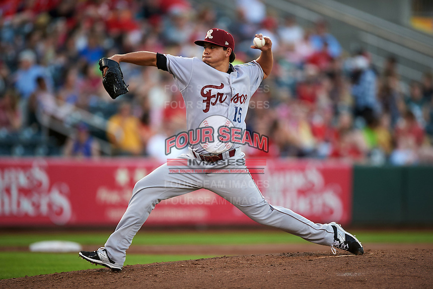 Frisco RoughRiders pitcher Frank Lopez (15) delivers a pitch during a game against the Springfield Cardinals  on June 4, 2015 at Hammons Field in Springfield, Missouri.  Frisco defeated Springfield 8-7.  (Mike Janes/Four Seam Images)