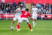 Sunday April 02 2017 <br /> Pictured: Luciano Narsingh Swansea City  and Fabio of Middlesbrough in action <br /> Re: Premier League match between Swansea City and Middlesbrough at The Liberty Stadium, Swansea, Wales, UK. SUnday 02 April 2017