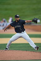 Wake Forest Demon Deacons starting pitcher Donnie Sellers (1) in action against the West Virginia Mountaineers in Game Six of the Winston-Salem Regional in the 2017 College World Series at David F. Couch Ballpark on June 4, 2017 in Winston-Salem, North Carolina.  The Demon Deacons defeated the Mountaineers 12-8.  (Brian Westerholt/Four Seam Images)