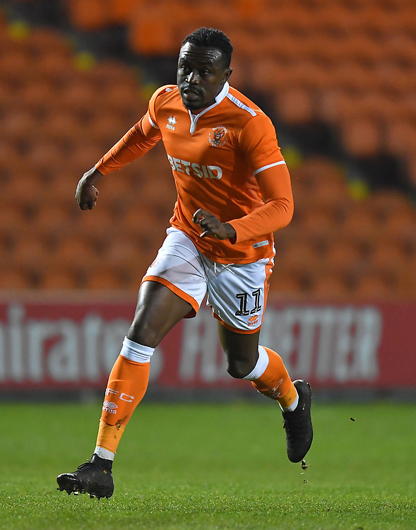 Blackpool's Joe Dodoo<br /> <br /> Photographer Dave Howarth/CameraSport<br /> <br /> The Emirates FA Cup Second Round Replay - Blackpool v Solihull Moors - Tuesday 18th December 2018 - Bloomfield Road - Blackpool<br />  <br /> World Copyright © 2018 CameraSport. All rights reserved. 43 Linden Ave. Countesthorpe. Leicester. England. LE8 5PG - Tel: +44 (0) 116 277 4147 - admin@camerasport.com - www.camerasport.com