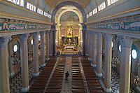 Santuario di Tindari, altare maggiore e navata centrale,<br /> Tindary sanctuary interiors: the nave with the altar