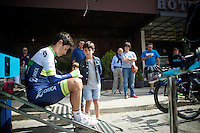 Johan Esteban Chaves (COL/Orica-GreenEDGE) signing infant of the team hotel<br /> <br /> stage 17: Burgos-Burgos TT (38.7km)<br /> 2015 Vuelta &agrave; Espana