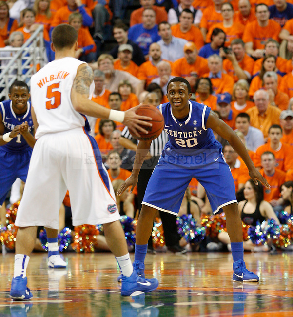 Doron Lamb guarding Scottie Wilbekin in Gainesville on February 5, 2011. Photo by Latara Appleby | Staff