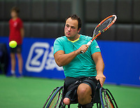 Rotterdam, Netherlands, December 18, 2015,  Topsport Centrum, Lotto NK Tennis, Wheelchair semifinal : Tom Egberink (NED)<br /> Photo: Tennisimages/Henk Koster