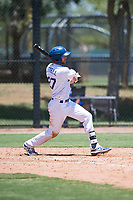 AZL Dodgers right fielder Jon Littell (27) follows through on his swing during an Arizona League game against the AZL Padres 2 at Camelback Ranch on July 4, 2018 in Glendale, Arizona. The AZL Dodgers defeated the AZL Padres 2 9-8. (Zachary Lucy/Four Seam Images)