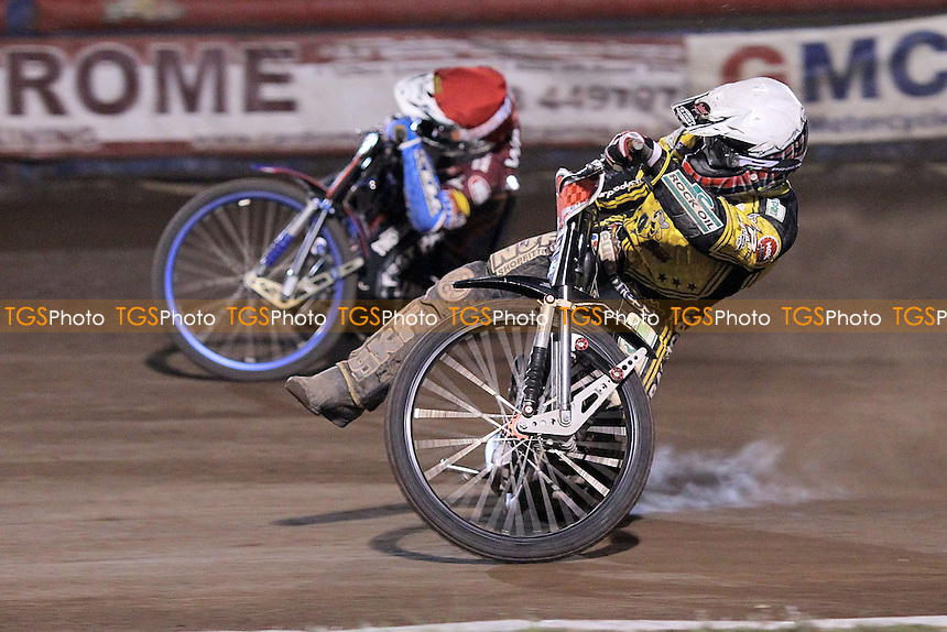 Heat 13: Davey Watt (red) and Chris Harris - Lakeside Hammers vs Coventry Bees - Sky Sports Elite League Speedway at Arena Essex Raceway, Purfleet - 10/09/12 - MANDATORY CREDIT: Gavin Ellis/TGSPHOTO - Self billing applies where appropriate - 0845 094 6026 - contact@tgsphoto.co.uk - NO UNPAID USE.
