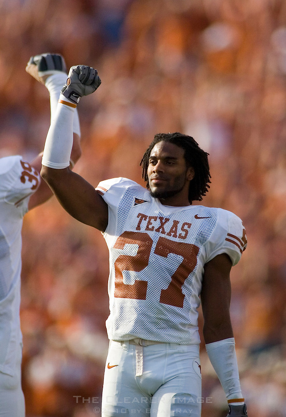 07 October 2006: Texas defender Michael Griffin celebrates a favorable ruling by officials during the Longhorns 28-10 victory over the University of Oklahoma Sooners at the Cotton Bowl in Dallas, TX.