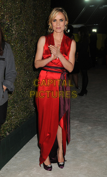Radha Mitchell .21st Annual Elton John Academy Awards Viewing Party held at West Hollywood Park, West Hollywood, California, USA..February 24th, 2013.oscars full length dress slit split purple waistband red silk satin sleeveless hands arms .CAP/ADM/BP.©Byron Purvis/AdMedia/Capital Pictures.