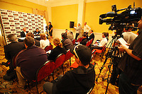 All Whites coach Ricki Herbert and captain Ryan Nelsen address the media at the World Cup Football play-off press conference during the All Whites v Bahrain build-up at Wellington Town Hall , Wellington, New Zealand on Tuesday, 10 November 2009. Photo: Dave Lintott / lintottphoto.co.nz.