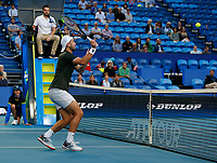 3rd January 2020; RAC Arena, Perth, Western Australia; ATP Cup Australia, Perth, Day 1,; USA v Norway Viktor Durasovic of Norway volleys at the net during the doubles against team USA - Editorial Use
