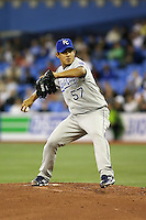 May 23rd 2008:  Pitcher Joel Peralta (57) of the Kansas City Royals during a game at the Rogers Centre in Toronto, Ontario, Canada .  Photo by:  Mike Janes/Four Seam Images