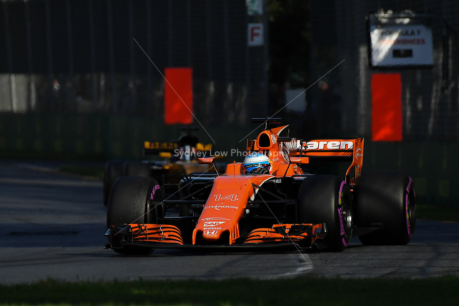 March 26, 2017: Fernando Alonso (ESP) #14 from the McLaren Honda Formula 1 team at the 2017 Australian Formula One Grand Prix at Albert Park, Melbourne, Australia. Photo Sydney Low