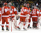 Garrett Noonan (BU - 13), Grant Rollheiser (BU - 35), Adam Kraus (BU - 32), Charlie Coyle (BU - 3), Kieran Millan (BU - 31) - The Boston College Eagles defeated the Boston University Terriers 3-2 (OT) in their Beanpot opener on Monday, February 7, 2011, at TD Garden in Boston, Massachusetts.