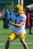 Green Bay Packers wide receiver Colby Pearson (1) during a training camp practice on August 1, 2017 at Ray Nitschke Field in Green Bay, Wisconsin.  (Brad Krause/Krause Sports Photography)