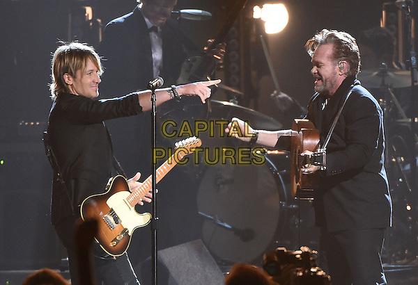 4 November 2015 - Nashville, Tennessee - Keith Urban, John Mellencamp. 49th CMA Awards, Country Music's Biggest Night, held at Bridgestone Arena. <br /> CAP/ADM/LF<br /> &copy;LF/ADM/Capital Pictures