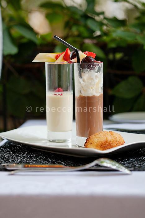 Two-chocolate cappuccino with fresh summer fruits, served at restaurant 'L'Atelier Gourmand', Montpellier, France, 14 July 2012