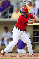 Stony Brook Seawolves first baseman Kevin Courtney #25 at bat during the continuation of their suspended NCAA Super Regional baseball game against LSU on June 9, 2012 at Alex Box Stadium in Baton Rouge, Louisiana. LSU defeated Stony Brook 5-4 in 12 innings. (Andrew Woolley/Four Seam Images)