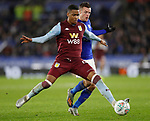 Ezri Konsa of Aston Villa holds off Jamie Vardy of Leicester City during the Carabao Cup match at the King Power Stadium, Leicester. Picture date: 8th January 2020. Picture credit should read: Darren Staples/Sportimage