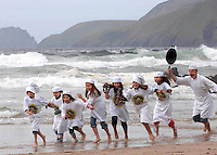 31-8-09WEST KERRY: &quot;Gimme back my fish&quot;l aughs chef Jean marie Vaireaux as he chases children, Ella Greely, Natasha Vaireaux, Margot Vaireaux, Jack brick, Hanna and Rachel Rubinstein, Ciara Brick and Faye Greely across Coomeenole Strand in West kerry at the launch of the 2009 Blas na hEireann Food Awards which will take place in Dingle County Kerry Oct 2-4th. <br /> Picture by Don MacMonagle<br /> Now in its second year, these Awards attracted over 800 product entries from 300 producers throughout the country, North and South, in 2008.  The Blas Awards are the only Irish food awards that focus solely on taste, arguably the most important criteria for a food product, and the judging standards are the most rigorous in the country. Winners are chosen as a result of blind tastings where like products are pitched against each other in a battle to tickle the tastebuds of the country&rsquo;s top food experts.   This year there are 30 categories for producers to enter, ranging from cheese and chocolate to ice cream and black pudding.  The winners of each category will then do battle for the prestigious title of overall Producer of the Year 2009. Winners will be announced on the 2nd October as part of the hugely successful Dingle Peninsula Food &amp; Drink Festival www.dinglefood.com  , which will include a special expo of all Gold, Silver and Bronze winners for buyers, press and the general public.