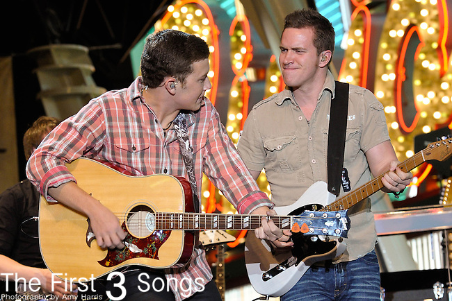 Scotty McCreery performs during the ACM Concerts at Fremont Street Experience Event in Las Vegas, Nevada on March 30, 2012.