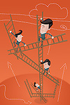 Illustrative image of business partners climbing ladders representing teamwork