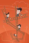Illustrative image of business partners climbing ladders representing teamwork