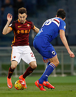Calcio, Serie A: Roma vs Sampdoria. Roma, stadio Olimpico, 7 febbraio 2016.<br /> Roma&rsquo;s Stephan El Shaarawy, left, is challenged by Sampdoria&rsquo;s Andrea Ranocchia during the Italian Serie A football match between Roma and Sampdoria at Rome's Olympic stadium, 7 January 2016.<br /> UPDATE IMAGES PRESS/Riccardo De Luca
