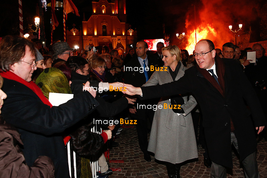 January 26, 2015 - Monte Carlo, MONACO - TT. SS. HH. Prince Albert II and Princess Charlene of Monaco attend the mass in Sainte Devote Church before they proceed to the burning of the boat. 'Sainte Dévote' is the Holy Patroness of the principality.