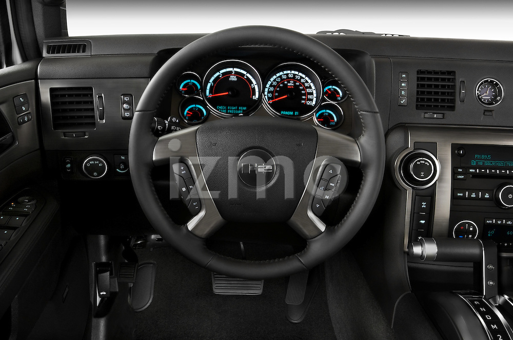 Steering wheel view of a 2008 Hummer H2 SUV