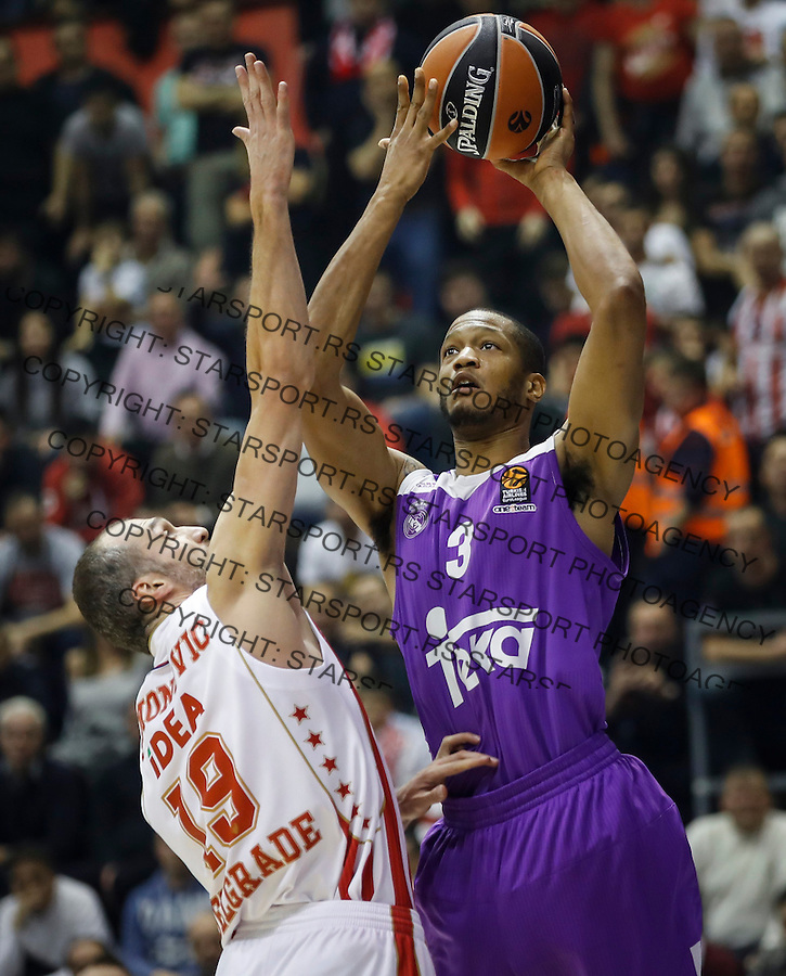 BELGRADE, SERBIA - DECEMBER 22: Anthony Randolph (R) of Real Madrid in action against Marko Simonovic (L) of Crvena Zvezda during the 2016/2017 Turkish Airlines EuroLeague Regular Season Round 14 game between Crvena Zvezda MTS Belgrade and Real Madrid at Aleksandar Nikolic Hall on December 22, 2016 in Belgrade, Serbia. (Photo by Srdjan Stevanovic/Getty Images)