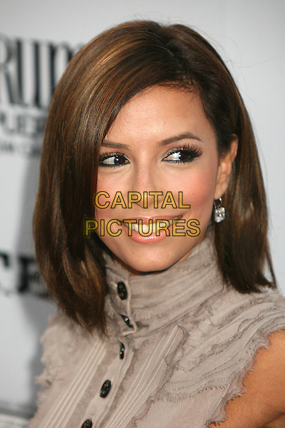 "EVA LONGORIA.The Picturehouse L.A. Premiere of ""El Cantante"" held at The DGA in West Hollywood, California, USA..July 31st 2007.portrait headshot bob hair high neck collar buttons diamond earrings .CAP/ADM/BP.©Byron Purvis/AdMedia/Capital Pictures"