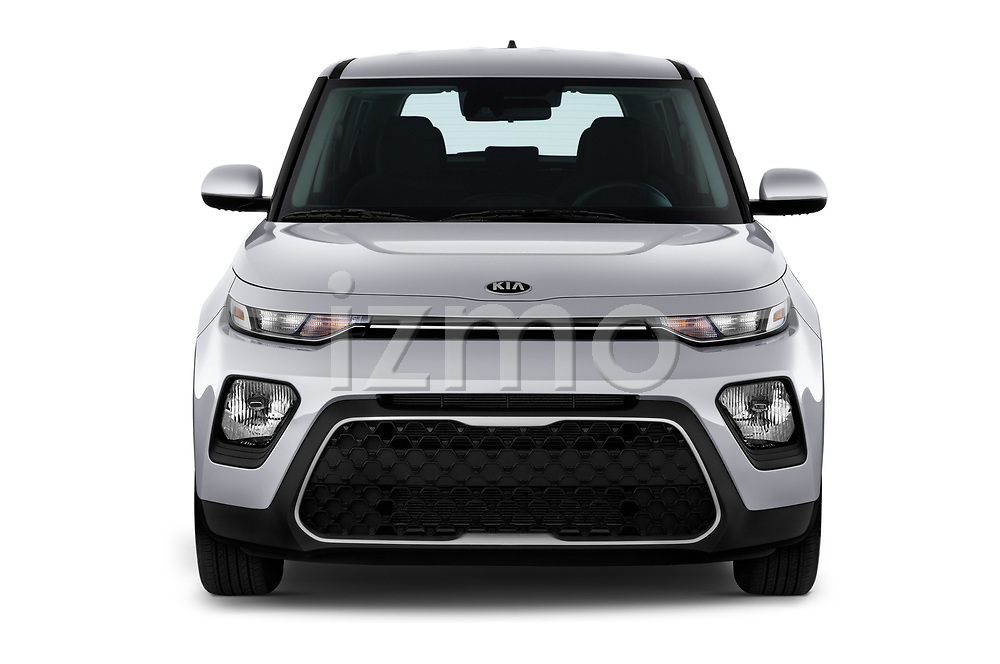 Car photography straight front view of a 2020 KIA Soul S 5 Door Hatchback Front View