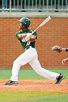 Leland Clemmons #12 of the Charlotte 49ers follows through on his swing against the Saint Peter's Peacocks at Robert and Mariam Hayes Stadium on February 18, 2012 in Charlotte, North Carolina.  Brian Westerholt / Four Seam Images